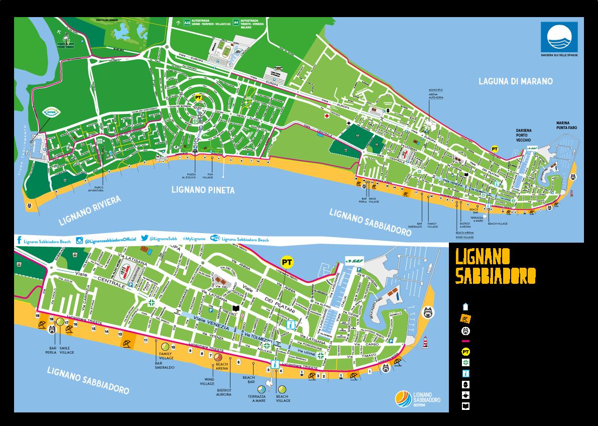 Lignano Cartina Geografica.Mappa Lignano Sabbiadoro