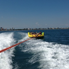 Towed water games in Lignano