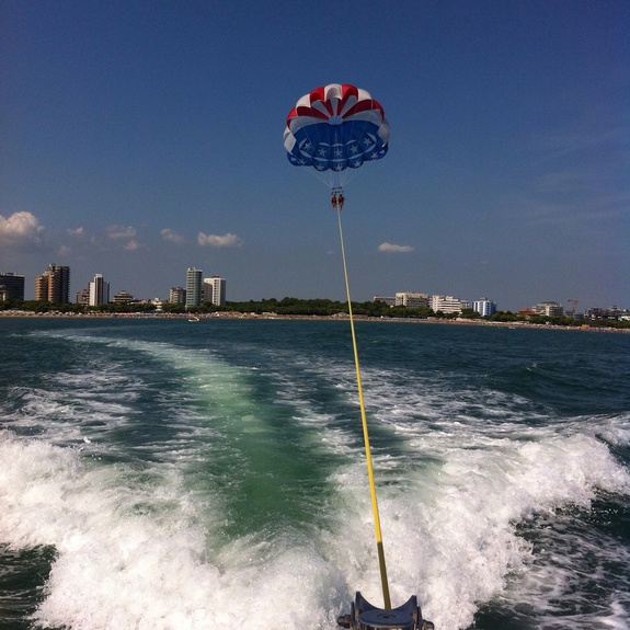 In flight above Lignano with Parasailing & Water Sports