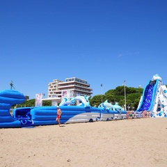 Inflatable slide at the beach