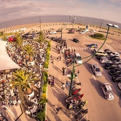 Aerial view of the Tenda Bar in Lignano