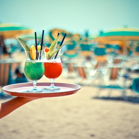 Aperitif am Strand in Lignano